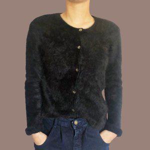 Vintage 90s Angora Button Front Eyelash Sweater